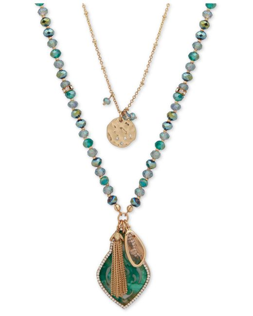 """Lonna & Lilly - Green Gold-tone Pavé, Bead & Chain Tassel 2-in-1 Pendant Necklace, 30""""/34"""" + 3"""" Extender - Lyst"""