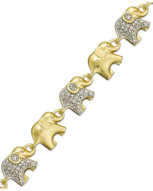 Macy's - Metallic Sterling Silver-plated Diamond Accent Linked Elephant Charm Bracelet - Lyst