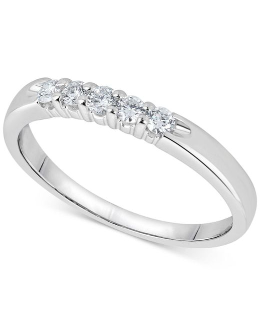 Macy's - Metallic Diamond Five-stone Ring (1/4 Ct. T.w.) In 14k White Gold - Lyst