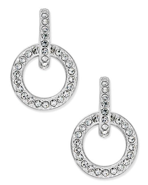 Danori - Metallic Silver-tone Pavé Open Link Drop Earrings - Lyst