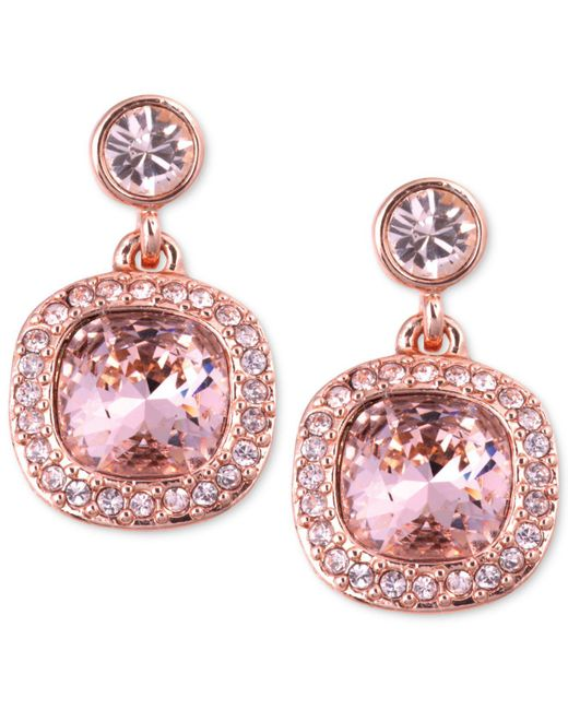 Givenchy - Earrings, Rose Gold-tone Swarovski Light Pink Stone Drop Earrings - Lyst