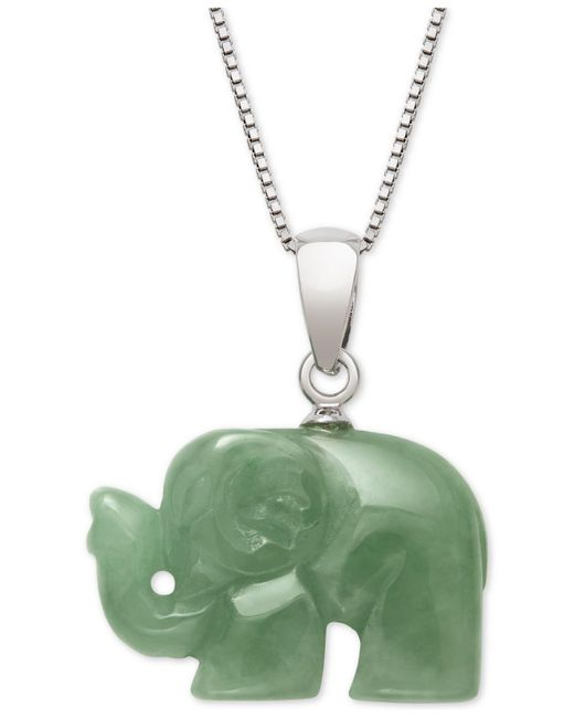 Macy's - Metallic Dyed Green Jade Carved Elephant Pendant Necklace In Sterling Silver - Lyst