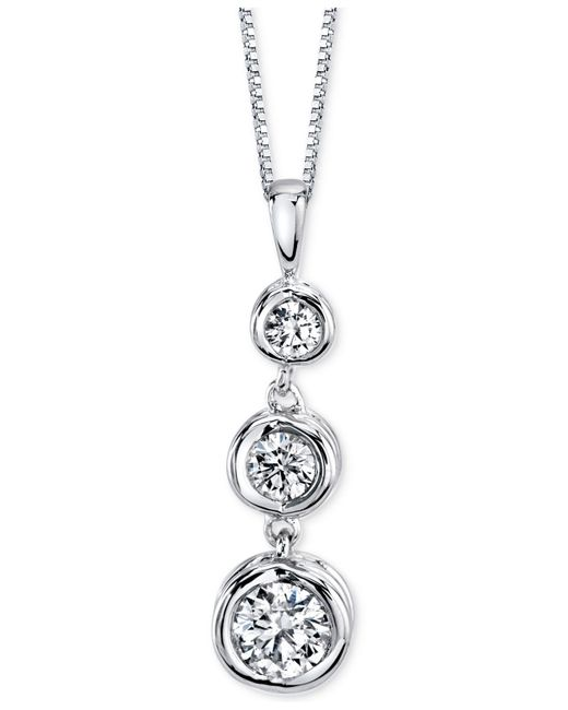 Sirena | Diamond Three-stone Pendant Necklace (1/3 Ct. T.w.) In 14k Yellow Or White Gold | Lyst