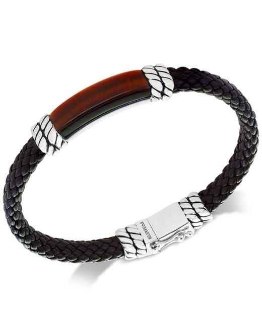 Effy Collection | Metallic Men's Tiger's Eye Brown Leather Bracelet In Sterling Silver for Men | Lyst