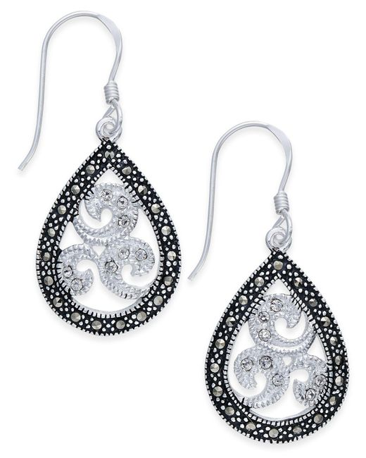 Macy's | Metallic Marcasite & Crystal Filigree Teardrop Earrings In Silver-plate | Lyst