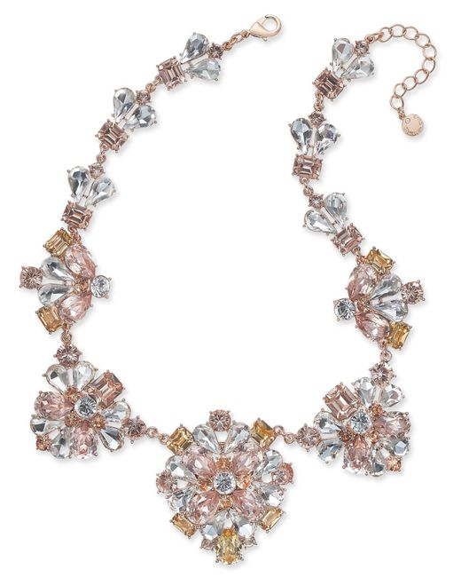 Charter Club - Gold-tone Clear & Pink Crystal Statement Necklace - Lyst