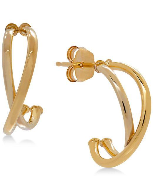 Macy's - Metallic Crisscross J-hoop Earrings In 10k White/rose Gold, Rose Gold, White Gold Or Gold - Lyst