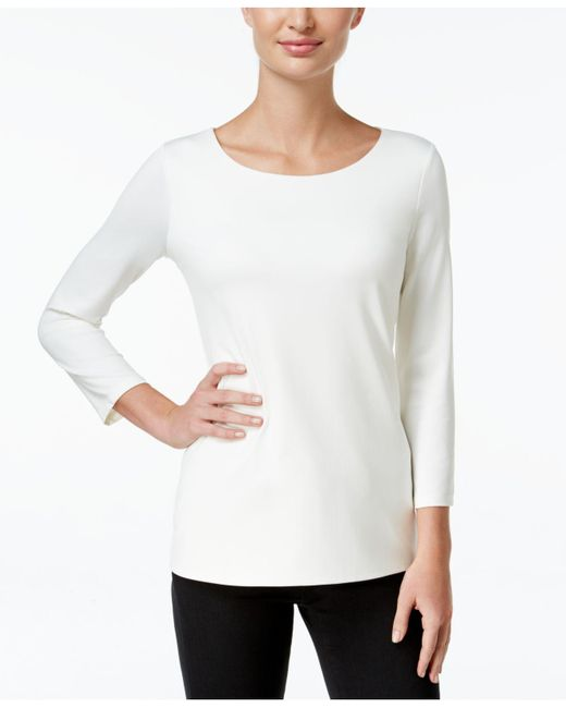 Charter Club - White Three-quarter-sleeve Top, Only At Macy's - Lyst