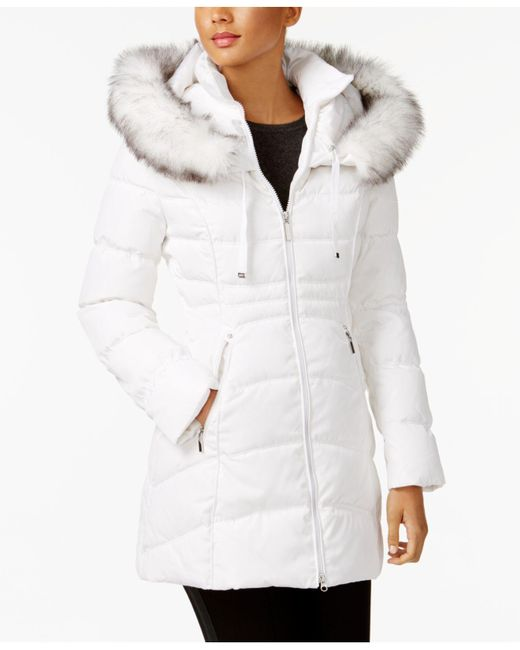 Laundry by Shelli Segal - White Faux-fur-trim Hooded Puffer Coat - Lyst