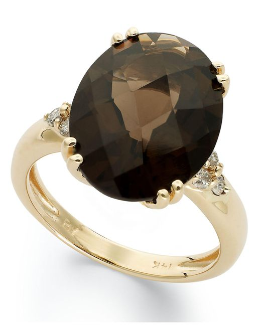 Macy's - Metallic 14k Gold Ring, Smokey Quartz (12 Ct. T.w.) And Diamond (1/5 Ct. T.w.) Oval Ring - Lyst