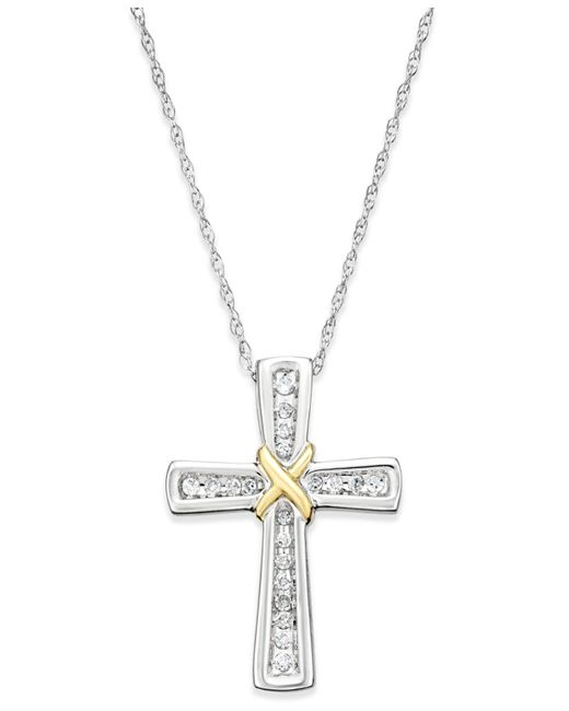Macy's - Diamond Cross Pendant Necklace (1/10 Ct. T.w.) In 14k White And Yellow Gold - Lyst
