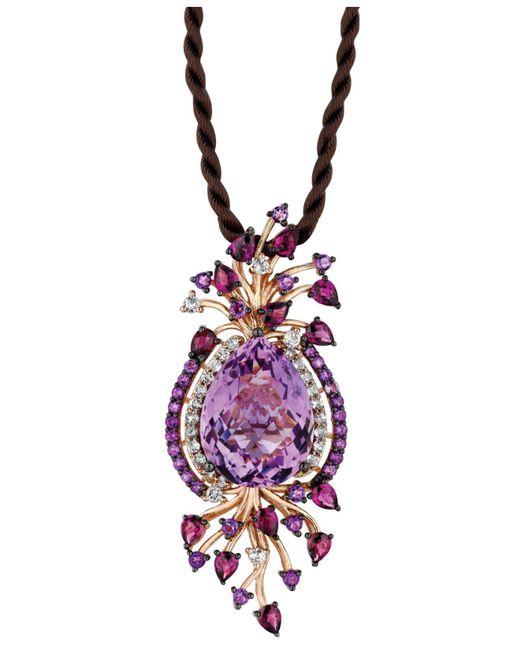 Le Vian - Multicolor Multistone Cord Pendant Necklace In 14k Strawberry Rose Gold (18 Ct. T.w.) - Lyst