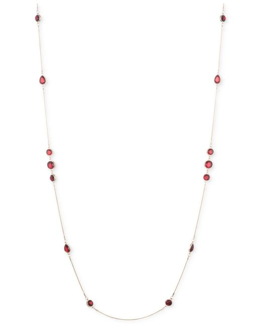 Nine West | Red Beaded Station Long Necklace | Lyst