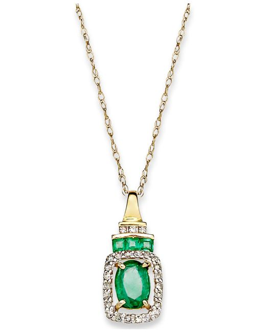 Macy's - Metallic 14k Gold Necklace, Emerald (9/10 Ct. T.w.) And Diamond (1/5 Ct. T.w.) Rectangle Pendant - Lyst