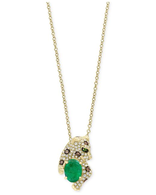 Effy Collection | Green Multi-gemstone (1-1/6 Ct. T.w.) & Diamond (1/3 Ct. T.w.) Leopard Pendant Necklace In 14k Gold. | Lyst