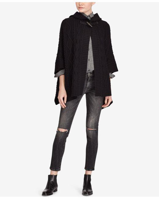 Polo Ralph Lauren | Black Aran-knit Hooded Poncho | Lyst