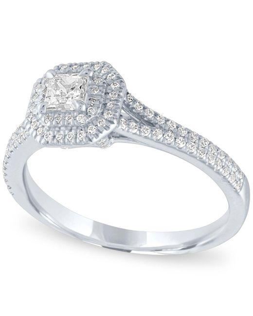 Macy's - Metallic Diamond Halo Engagement Ring (5/8 Ct. T.w.) In 14k White Gold - Lyst