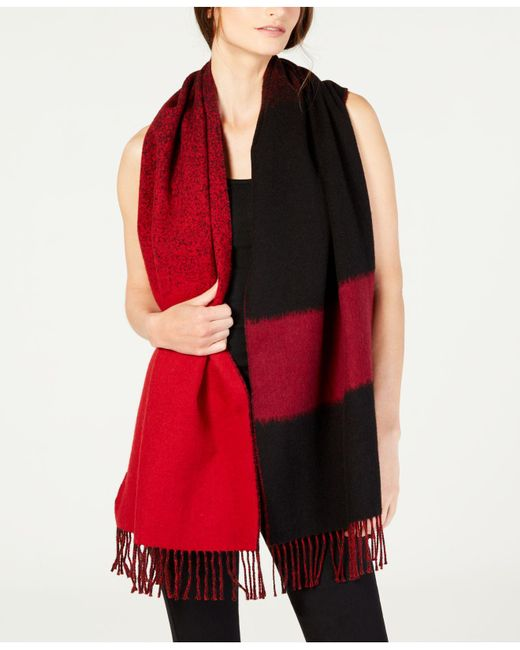 Eileen Fisher - Red Printed Fringe Scarf - Lyst