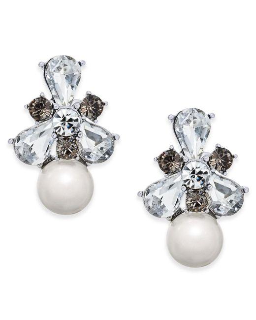 Charter Club - Metallic Silver-tone Crystal & Imitation Pearl Drop Earrings - Lyst
