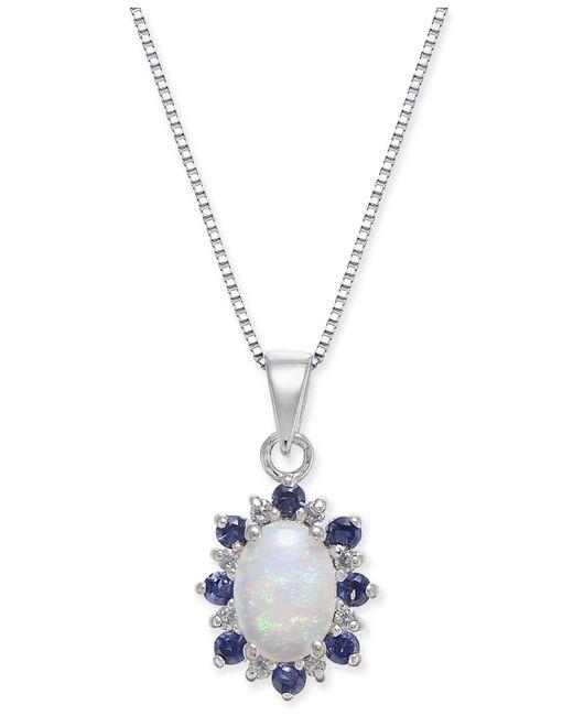 "Macy's - Metallic Multi-gemstone (3/4 Ct. T.w.) & Diamond Accent 18"" Pendant Necklace In 14k White Gold - Lyst"