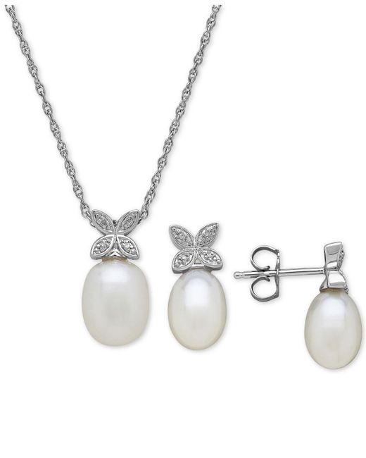 Macy's - Metallic Cultured Freshwater Pearl & Diamond Accent Pendant Necklace And Stud Earrings Set In Sterling Silver - Lyst