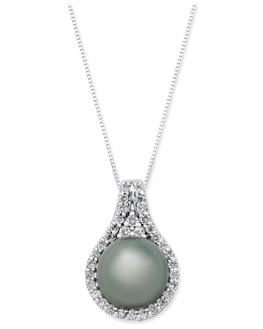 Macy's - Metallic Cultured Tahitian Pearl (11mm) And Diamond (1/2 Ct. T.w.) Pendant Necklace In 14k White Gold - Lyst