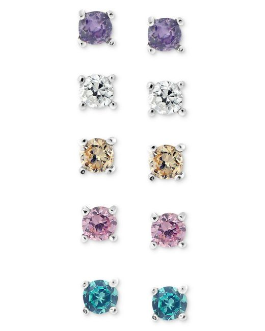 Giani Bernini - Brown Sterling Silver Earring Set, Multicolor Cubic Zirconia Five Stud Earring Set (1 Ct. T.w.) - Lyst
