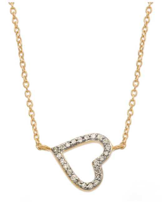Macy's - Gray Yelloratm Diamond Sideways Heart Pendant Necklace In Yelloratm (1/6 Ct. T.w.) - Lyst