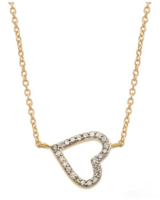 Macy's | Gray Yelloratm Diamond Sideways Heart Pendant Necklace In Yelloratm (1/6 Ct. T.w.) | Lyst