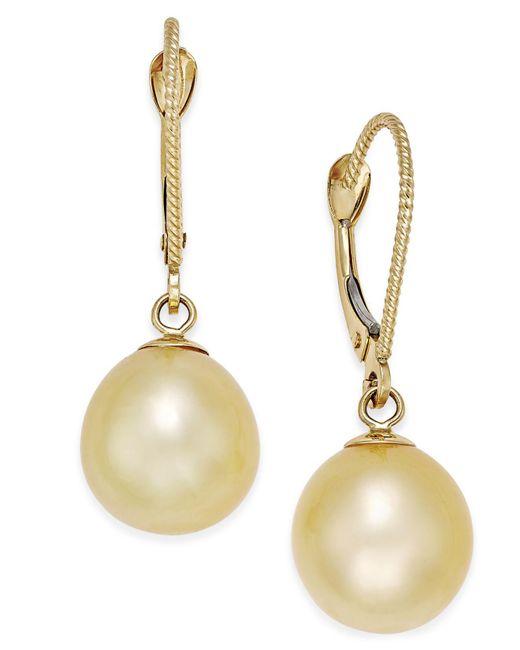 Macy's - Metallic Cultured Oval Golden South Sea Pearl (9mm) Drop Earrings In 14k Gold - Lyst