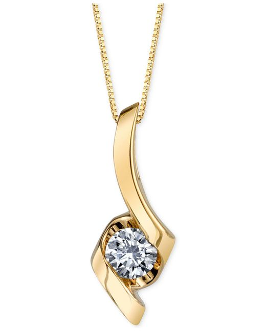 Macy's - Yellow Diamond Twist Pendant Necklace (1/4 Ct. T.w.) In 14k Gold Or White Gold - Lyst