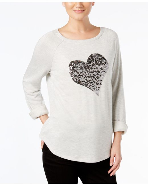 INC International Concepts - Gray Embellished Heart Sweatshirt - Lyst