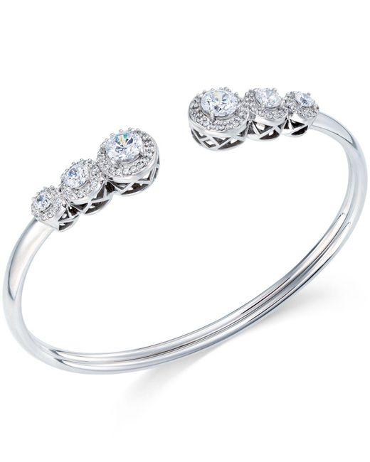 Arabella   Metallic Swarovski Zirconia Bangle Bracelet In Sterling Silver   Lyst