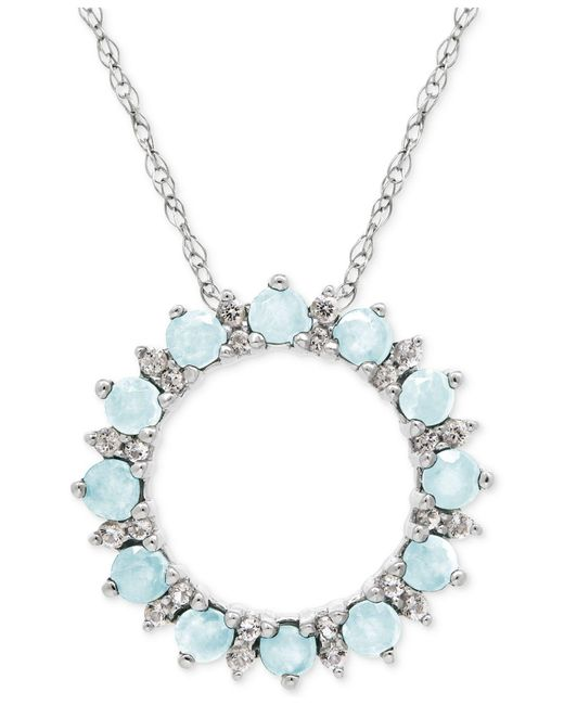 Macy's | Metallic Peridot (7/8 Ct. T.w.) And White Topaz (1/5 Ct. T.w.) Circle Pendant Necklace In Sterling Silver | Lyst