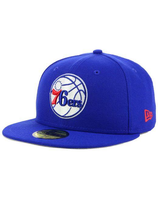 3c7689ddd4c KTZ - Blue Philadelphia 76ers Basic 59fifty Fitted Cap 2018 for Men - Lyst  ...