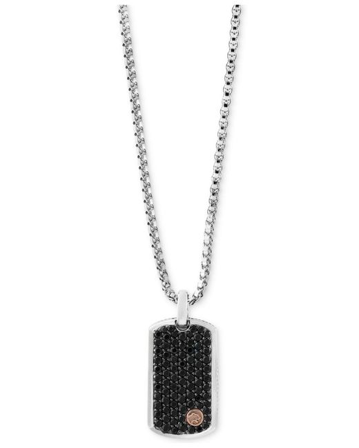 Effy Collection - Black Sapphire Dog Tag Pendant Necklace (3 Ct. T.w.) In Sterling Silver & 18k Rose Gold - Lyst