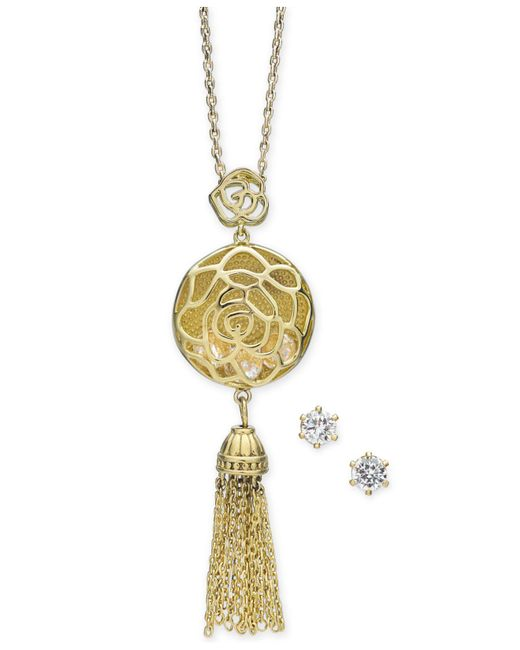 "Charter Club - Metallic Gold-tone Crystal Openwork Circle And Chain Tassel Pendant Necklace & Stud Earrings Set, 15"" + 3"" Extender, Created For Macy's - Lyst"