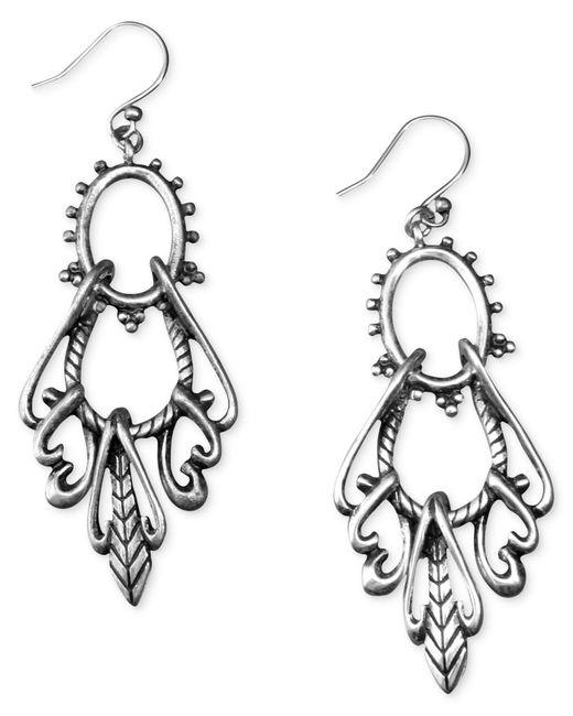 Lucky Brand   Gray Earrings, Silver-tone Open Drop   Lyst