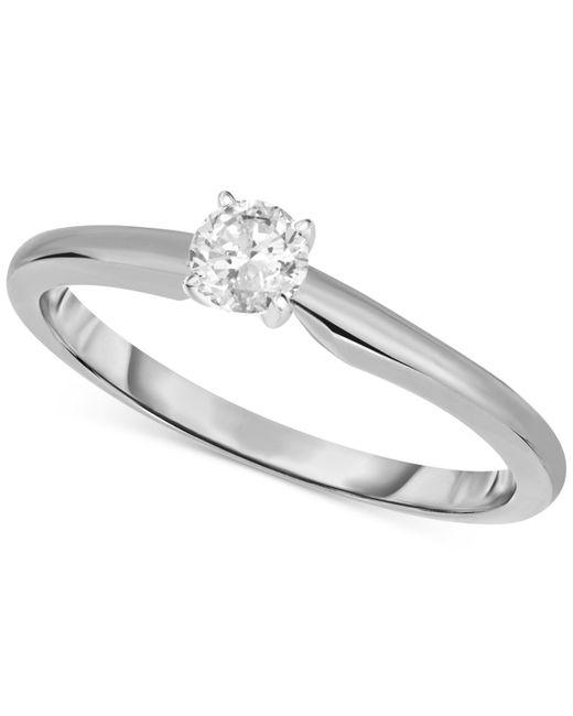 Macy's | Metallic 14k White Gold Ring, Certified Diamond Engagement (1/3 Ct. T.w.) | Lyst