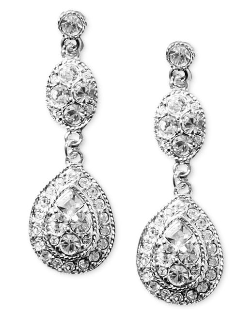 Givenchy | White Earrings, Crystal Linear Teardrop | Lyst