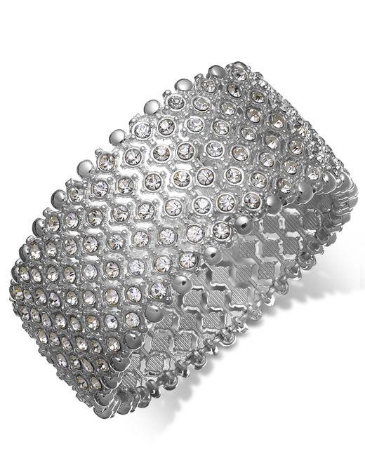 Charter Club - Metallic Silver-tone Clear Crystal Stretch Bracelet - Lyst