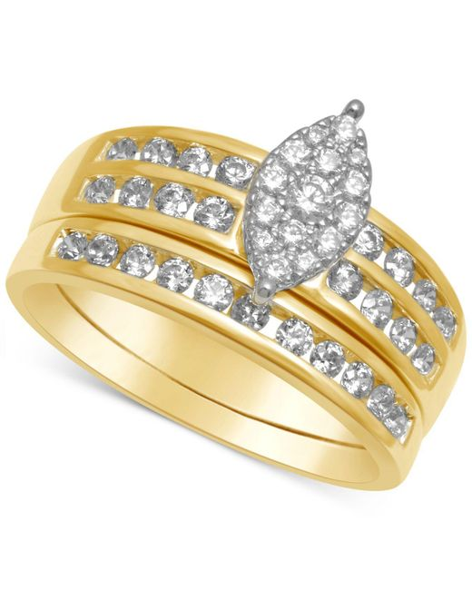 Macy's | Metallic Diamond Marquise-cluster Bridal Set (3/4 Ct. T.w.) | Lyst