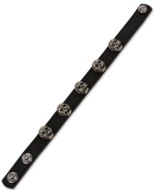 Betsey Johnson - Black Leather Skull Snap Bracelet - Lyst