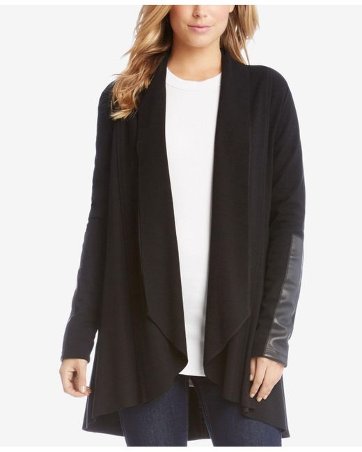 Karen Kane - Black Open Cardigan With Vegan-leather Trim - Lyst