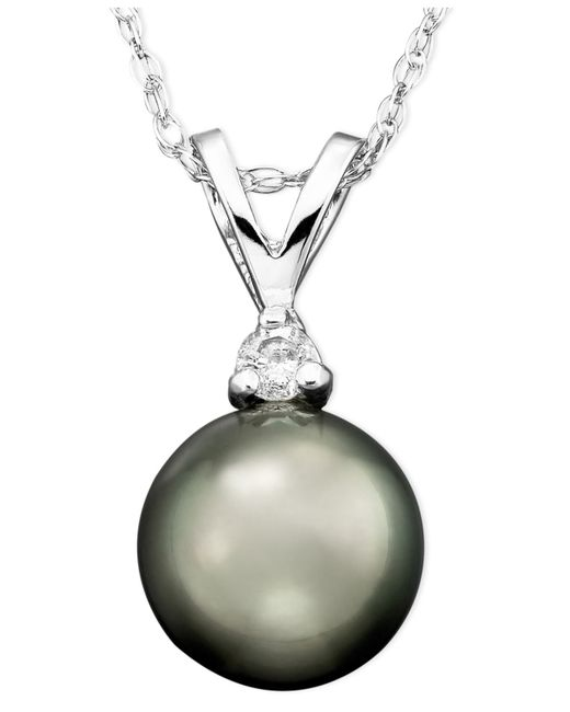 Macy's | Multicolor Tahitian Cultured Pearl (8mm) And Diamond Accent Pendant Necklace In 14k White Gold | Lyst