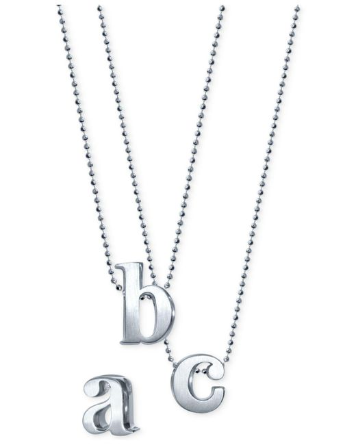 Alex Woo   Metallic Initial Pendant Necklace In Sterling Silver   Lyst
