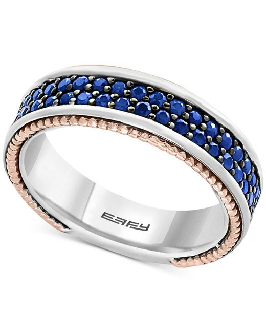 Effy Collection | Metallic Men's Sapphire Band (1-1/2 Ct. T.w.) In Sterling Silver, 18k Rose Gold And Black Rhodium for Men | Lyst