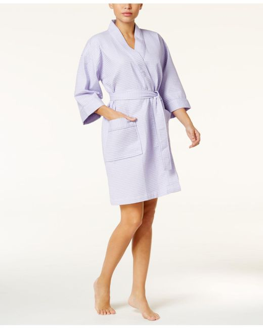 Charter Club - White Short Spa Waffle Robe, Created For Macy's - Lyst
