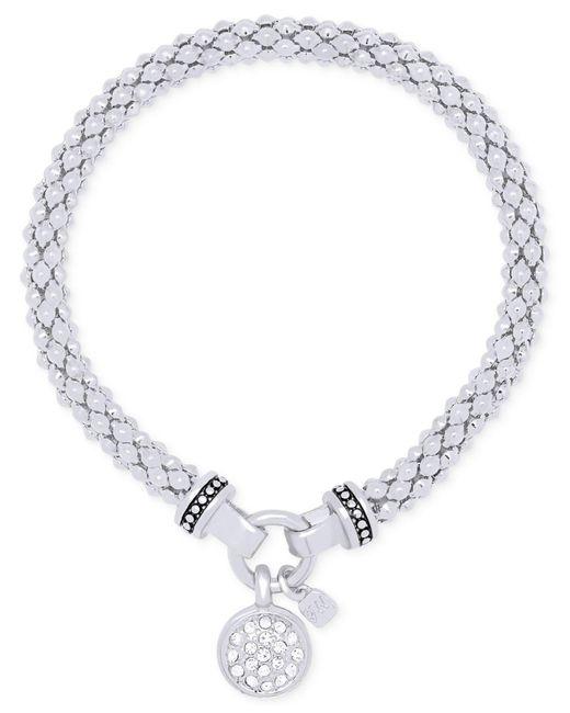 Nine West | Metallic Pavé Charm Weave-style Stretch Bracelet | Lyst