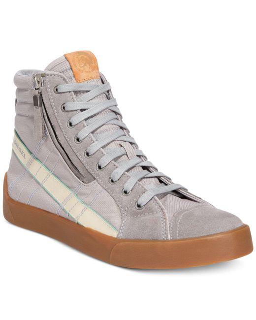 DIESEL | Gray Men's D-velows D-string Plus Hightop Sneakers for Men | Lyst